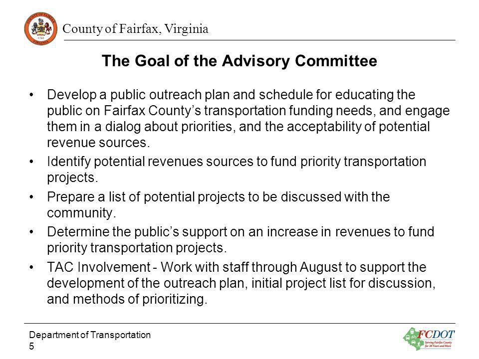 The Goal of the Advisory Committee