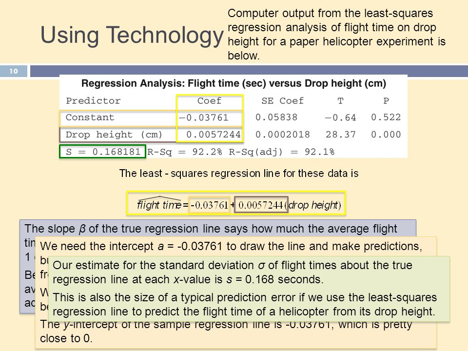 Using Technology Computer output from the least-squares regression analysis of flight time on drop height for a paper helicopter experiment is below.