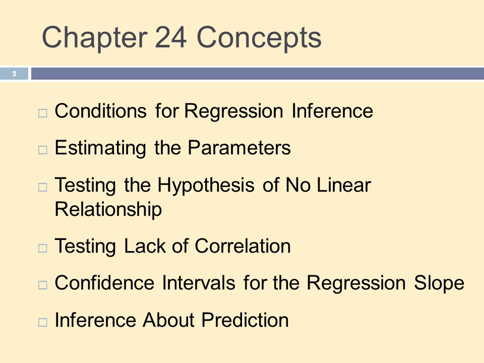 Chapter 24 Concepts Conditions for Regression Inference