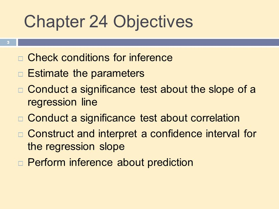 Chapter 24 Objectives Check conditions for inference