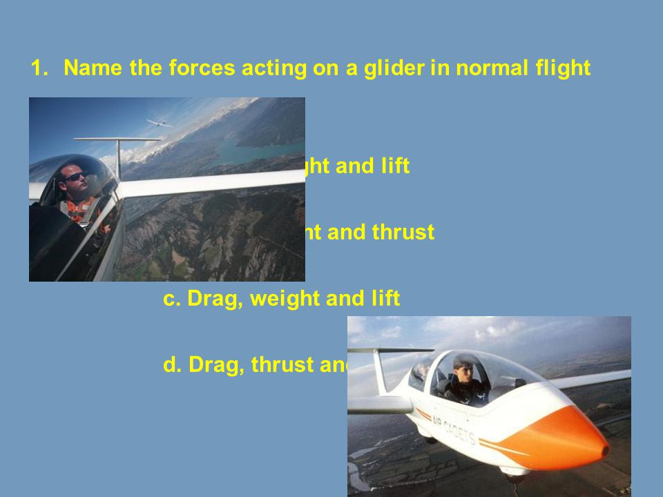 Name the forces acting on a glider in normal flight