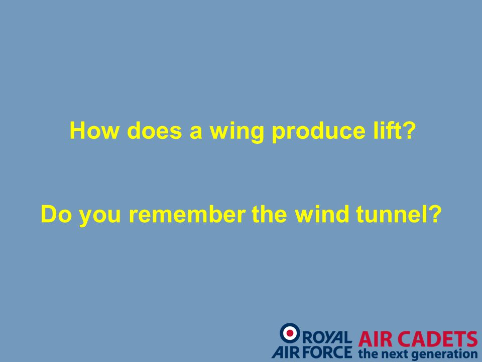 How does a wing produce lift Do you remember the wind tunnel