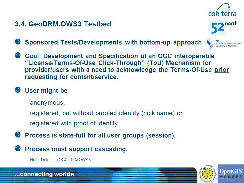 3.4. GeoDRM.OWS3 TestbedSponsored Tests/Developments with bottom-up approach.
