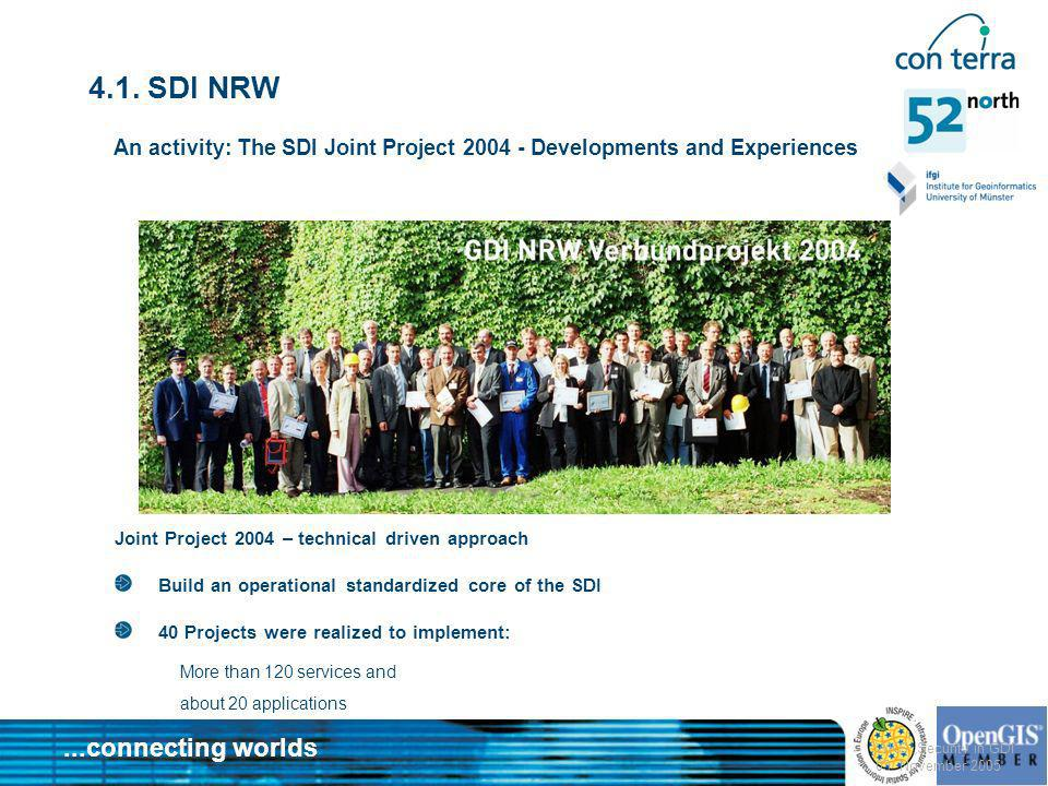 4.1. SDI NRW An activity: The SDI Joint Project Developments and Experiences. Joint Project 2004 – technical driven approach.