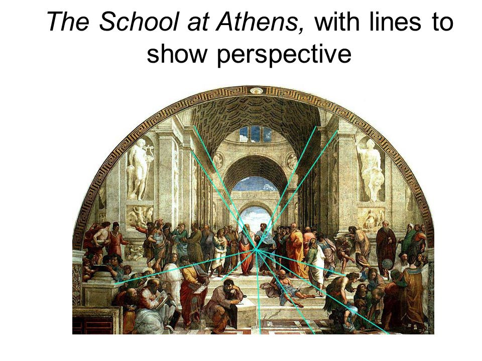 The School at Athens, with lines to show perspective