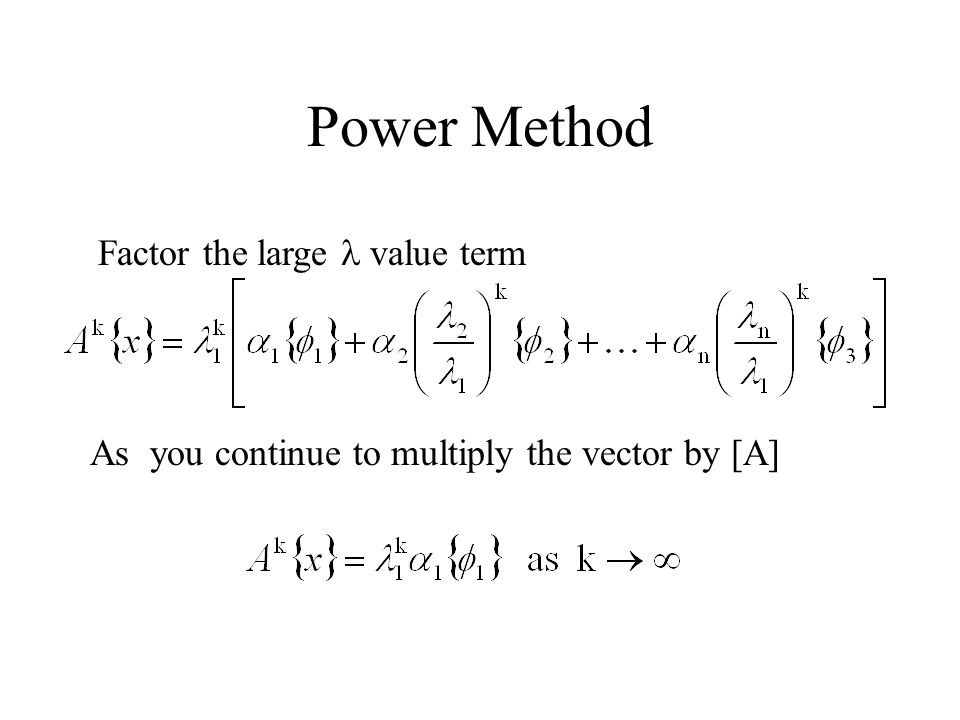 Power Method Factor the large l value term