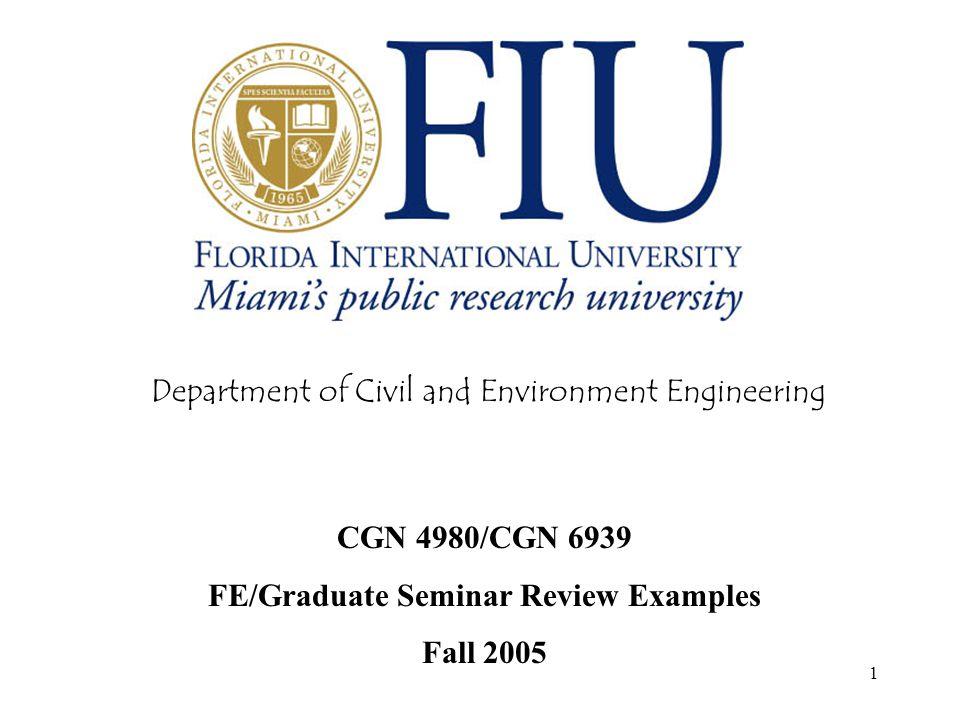FE/Graduate Seminar Review Examples