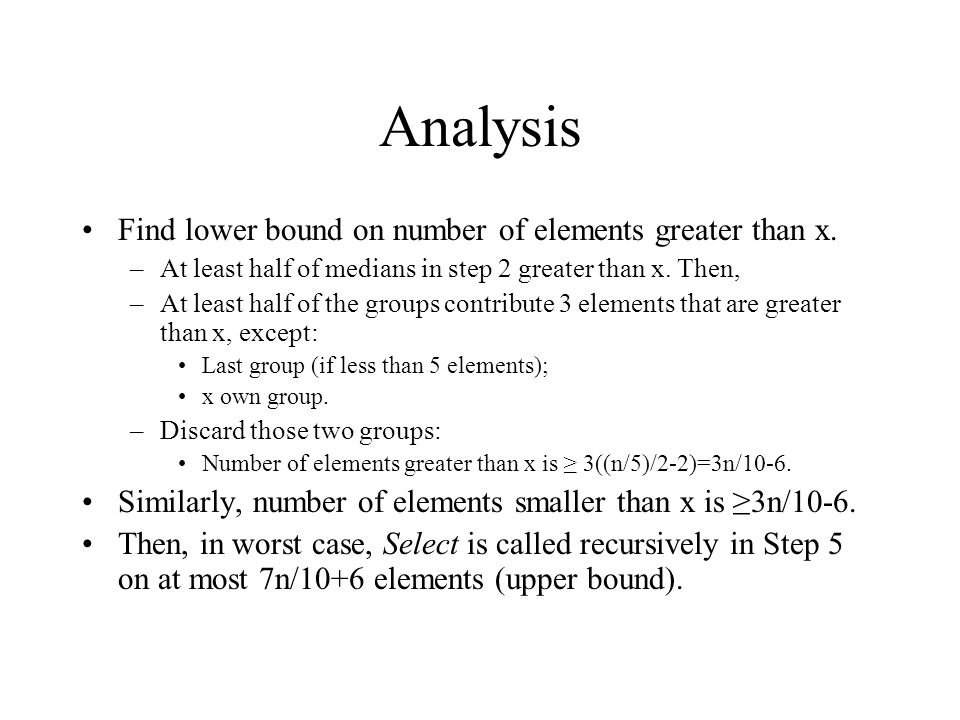Analysis Find lower bound on number of elements greater than x.