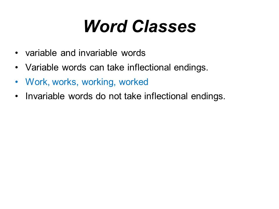 Word Classes variable and invariable words