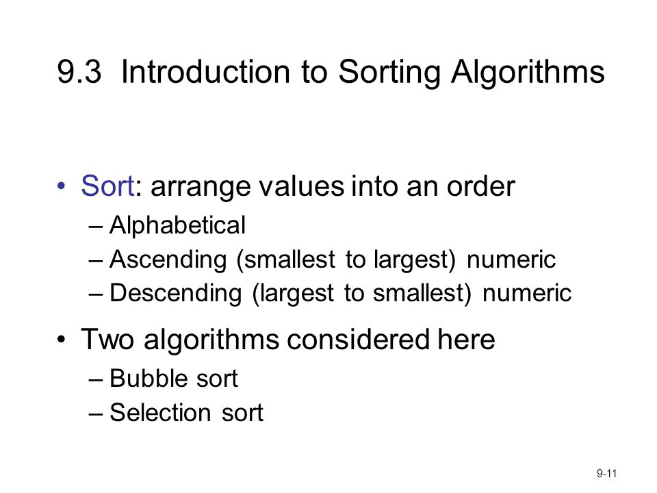 9.3 Introduction to Sorting Algorithms