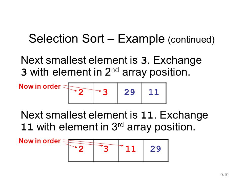 Selection Sort – Example (continued)