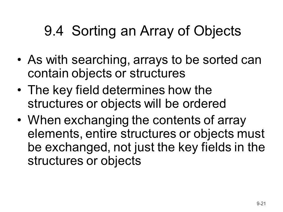 9.4 Sorting an Array of Objects