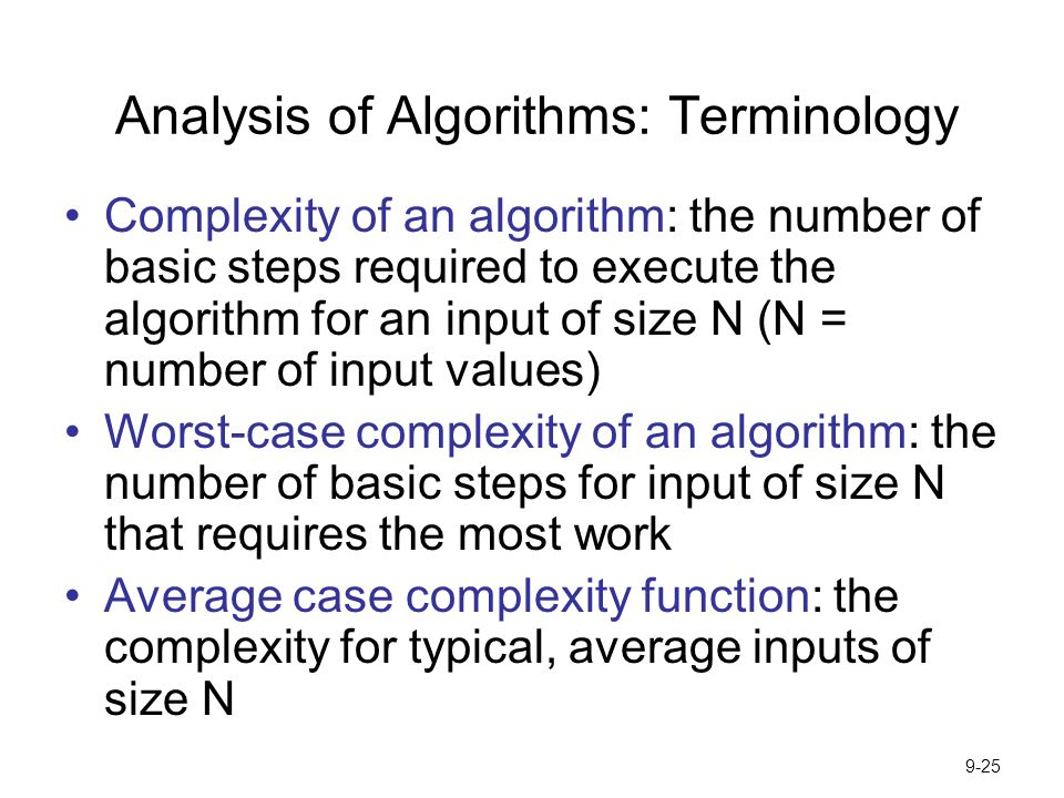 Analysis of Algorithms: Terminology