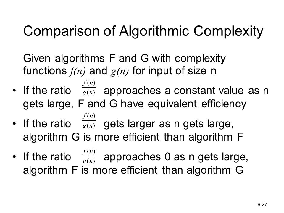 Comparison of Algorithmic Complexity