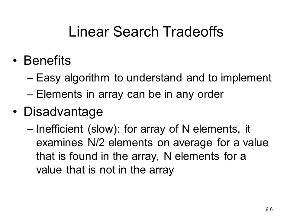 Linear Search Tradeoffs