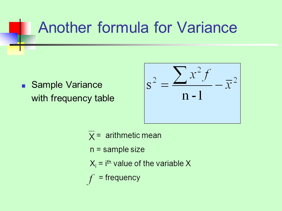 Another formula for Variance