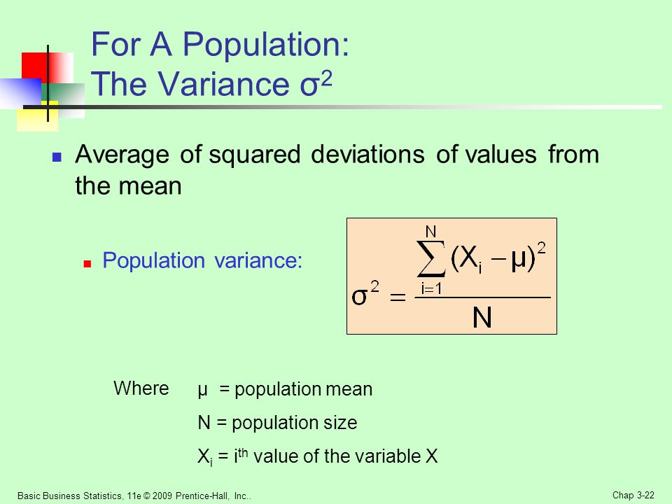For A Population: The Variance σ2