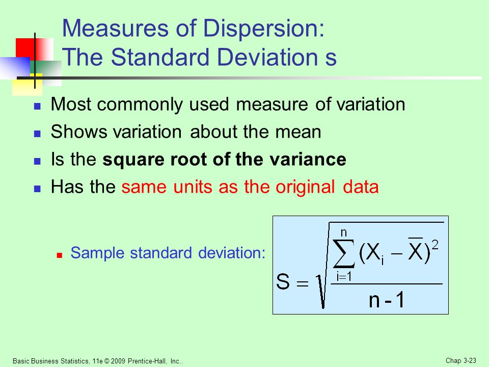 Measures of Dispersion: The Standard Deviation s