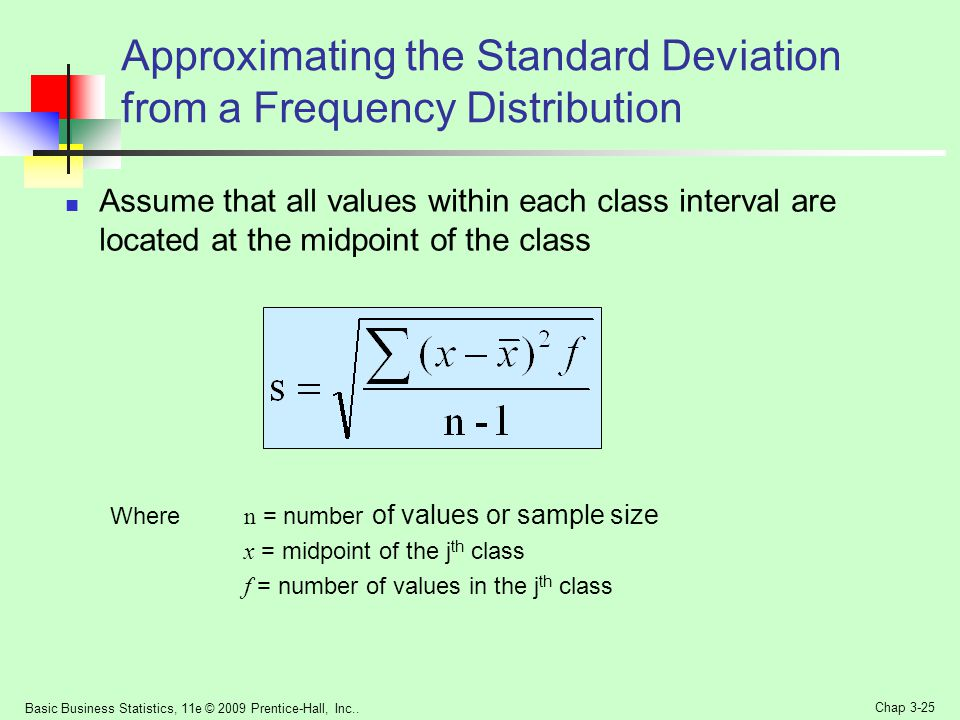 Approximating the Standard Deviation from a Frequency Distribution