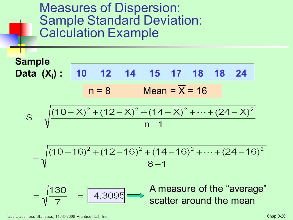 Measures of Dispersion: Sample Standard Deviation: Calculation Example