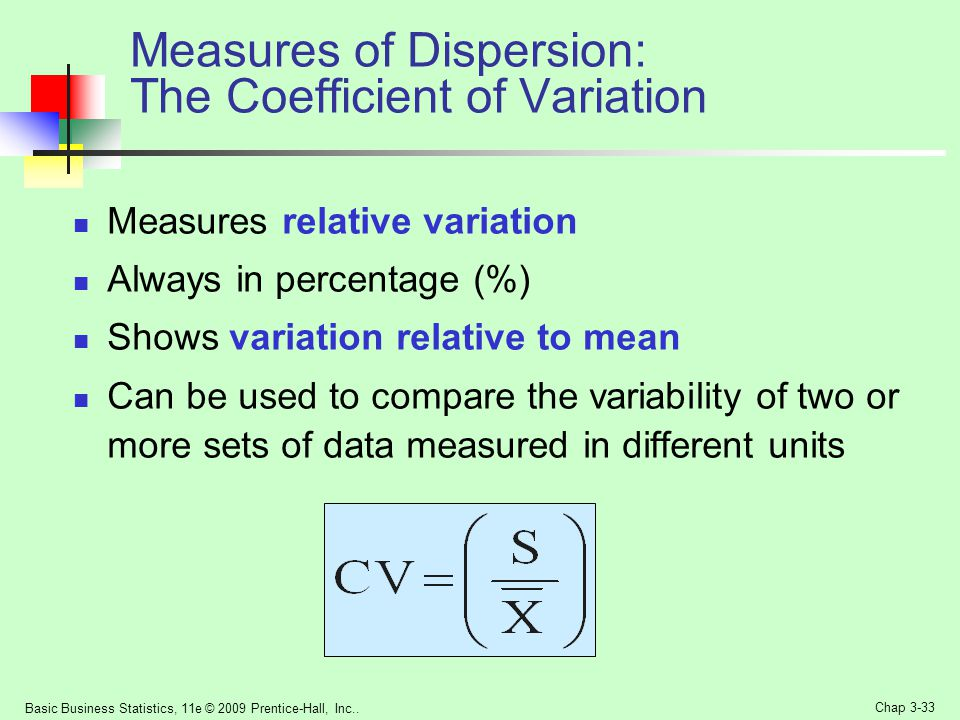 Measures of Dispersion: The Coefficient of Variation