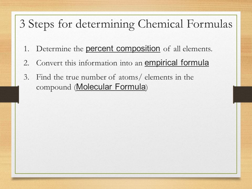 determination of chemical formulae Advanced chemistry with vernier contains 35 experiments appropriate for ap chemistry or college general chemistry the determination of a chemical formula:.
