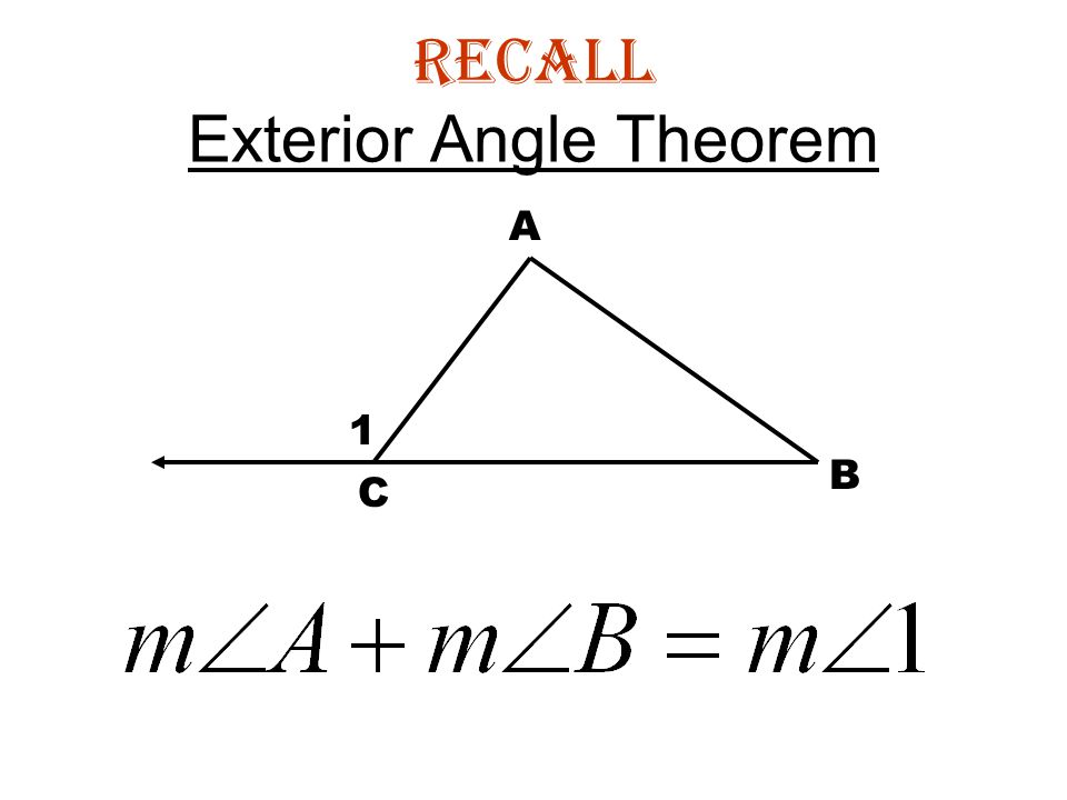 Inequalities in one triangle ppt download - Exterior angle inequality theorem ...