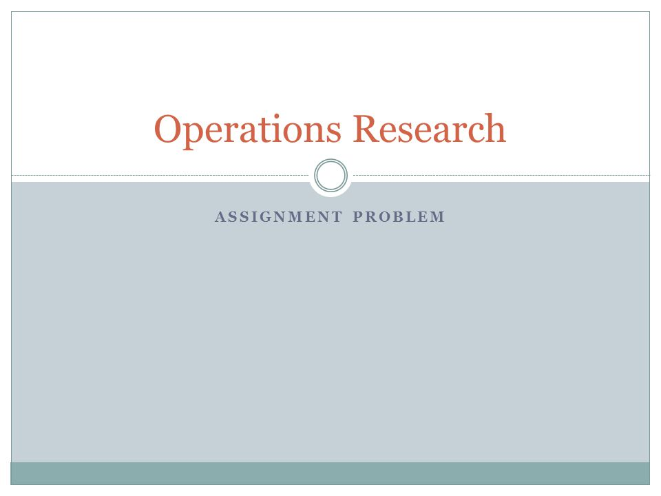Operation research assignment