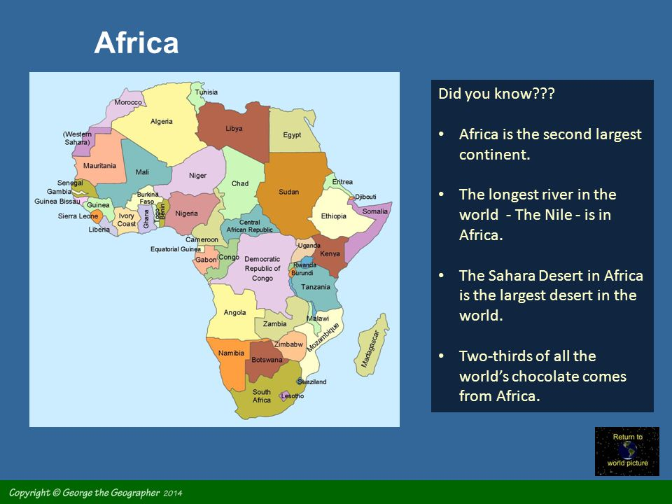 Africa is a second largest continent