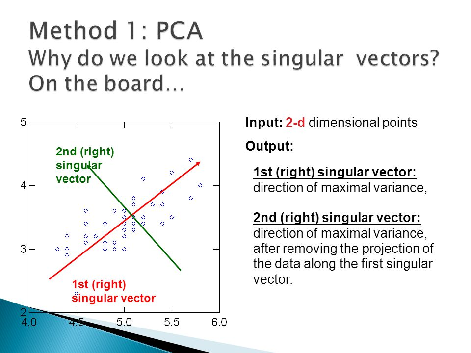 Method 1: PCA Why do we look at the singular vectors On the board…