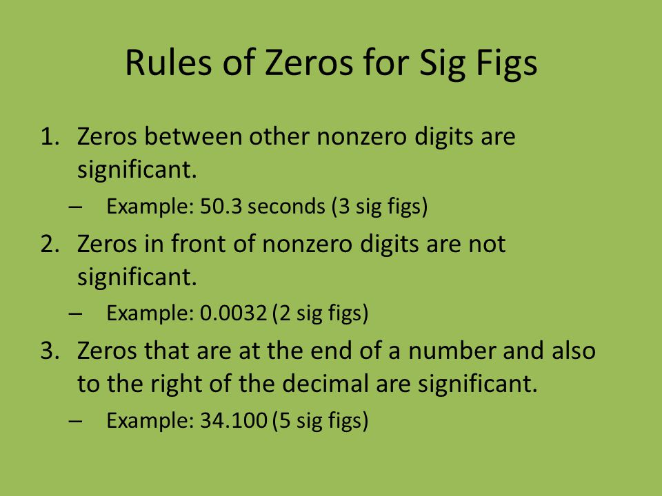 Rules of Zeros for Sig Figs