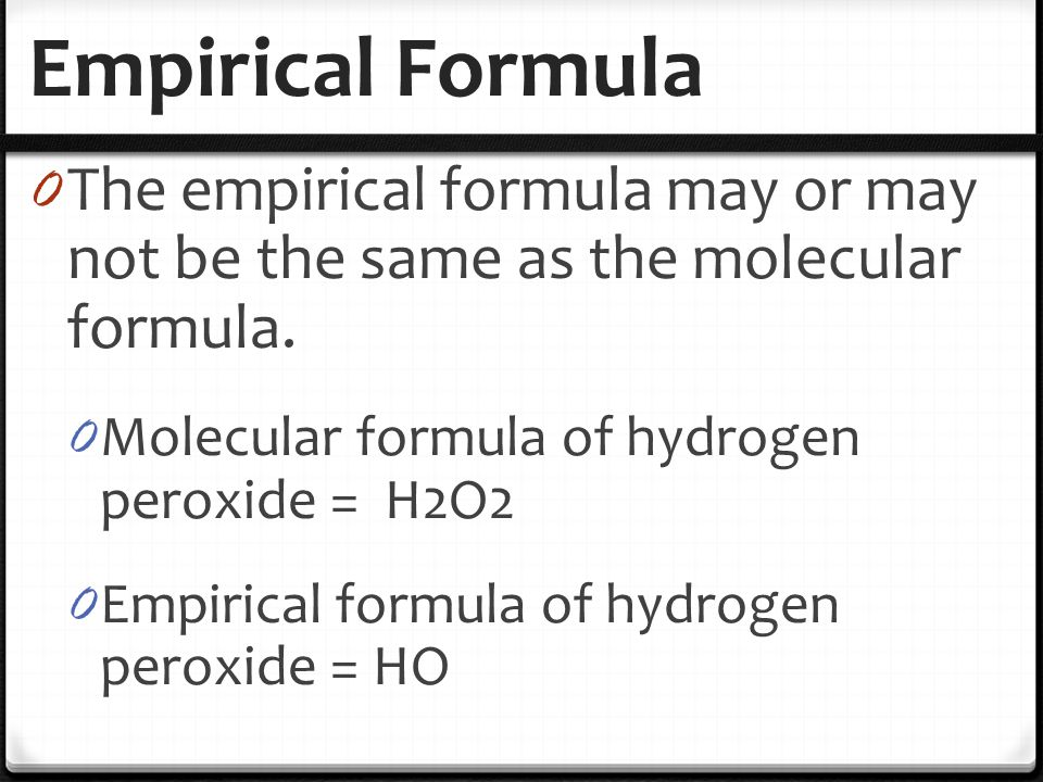 Empirical formula questions gcse