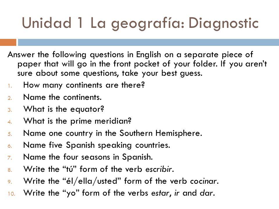 Unidad 1 La geografía: Diagnostic