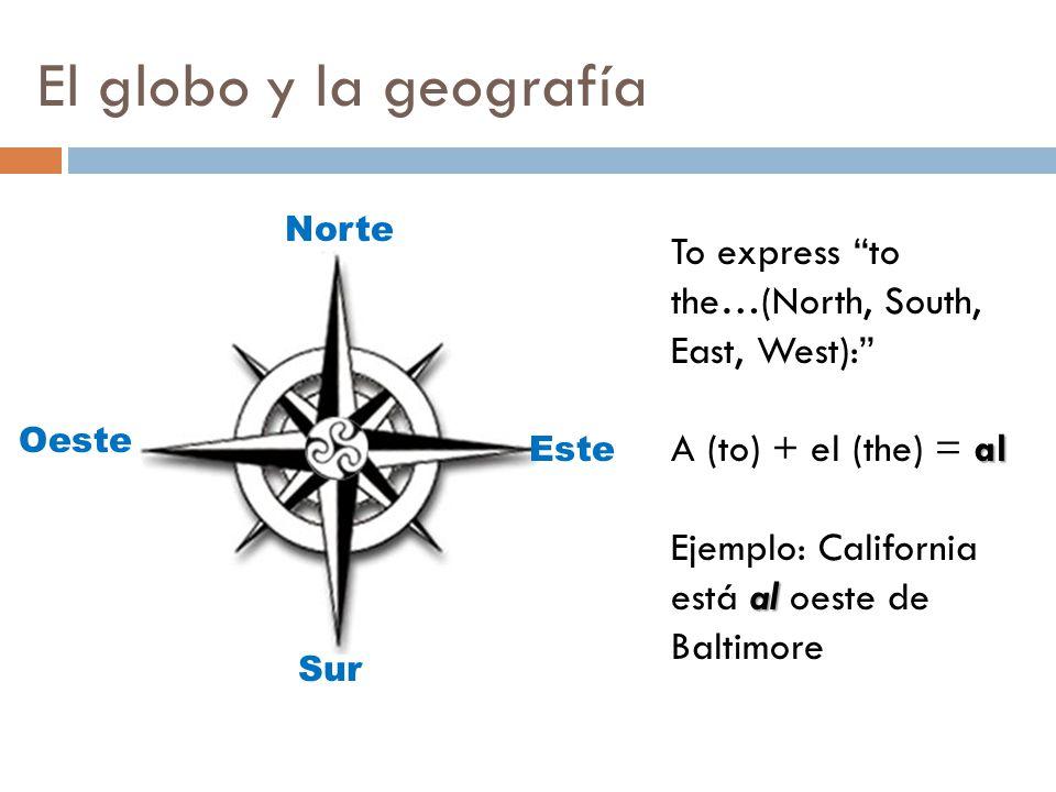 El globo y la geografía Norte. To express to the…(North, South, East, West): A (to) + el (the) = al.