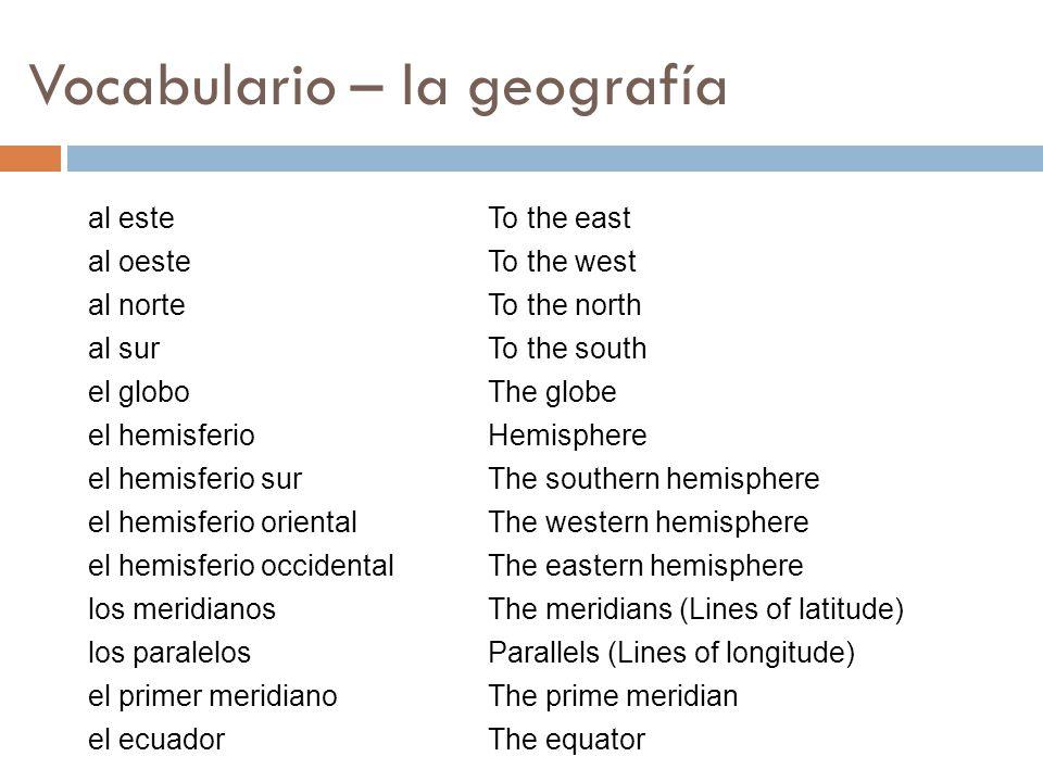 Vocabulario – la geografía