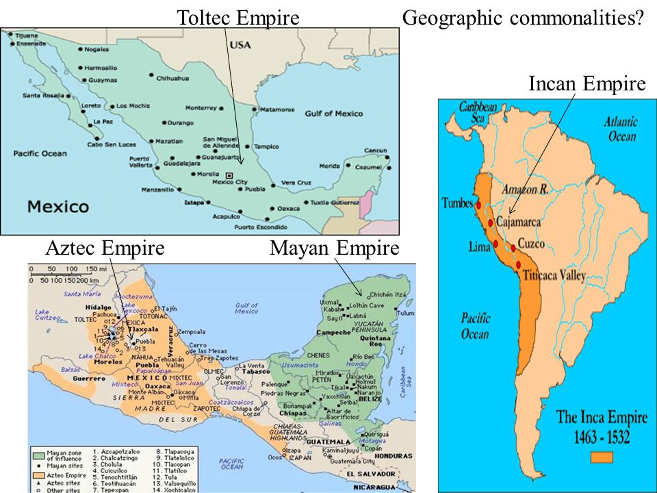 Toltec Empire Geographic commonalities Incan Empire Aztec Empire Mayan Empire
