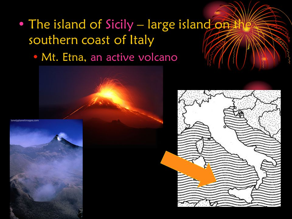 The island of Sicily – large island on the southern coast of Italy