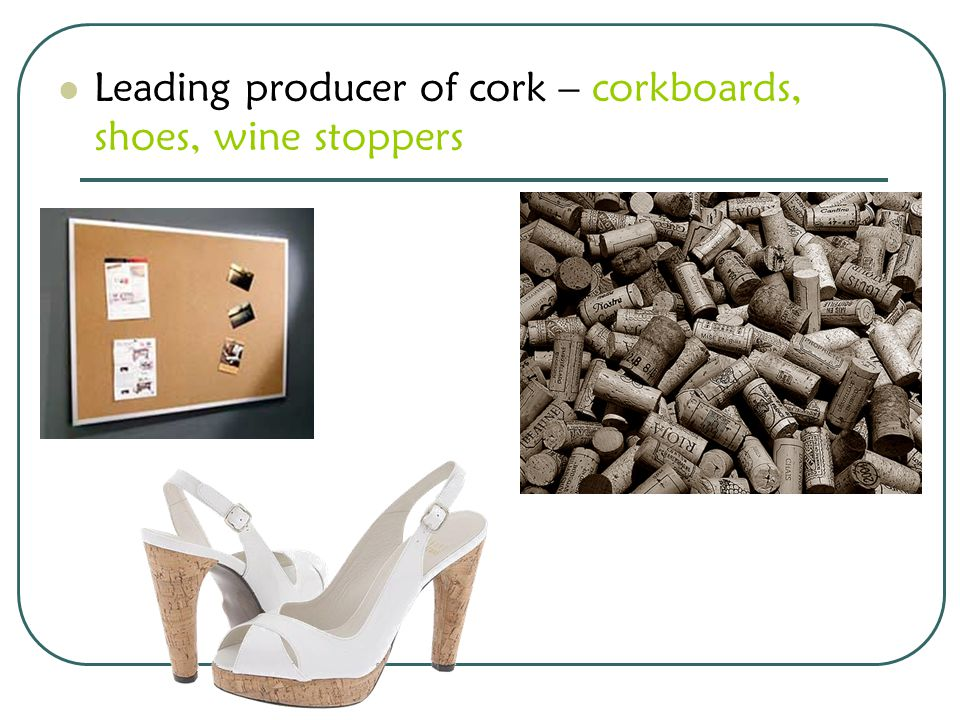 Leading producer of cork – corkboards, shoes, wine stoppers