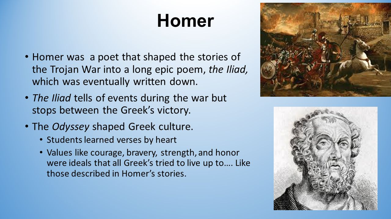 an analysis of the epic poem the odyssey by homer Homer (/ ˈ h oʊ m ər / greek: ὅμηρος [hómɛːros], hómēros) is the legendary author of the iliad and the odyssey, two epic poems that are the central works of ancient greek literature the iliad is set during the trojan war , the ten-year siege of the city of troy by a coalition of greek kingdoms.