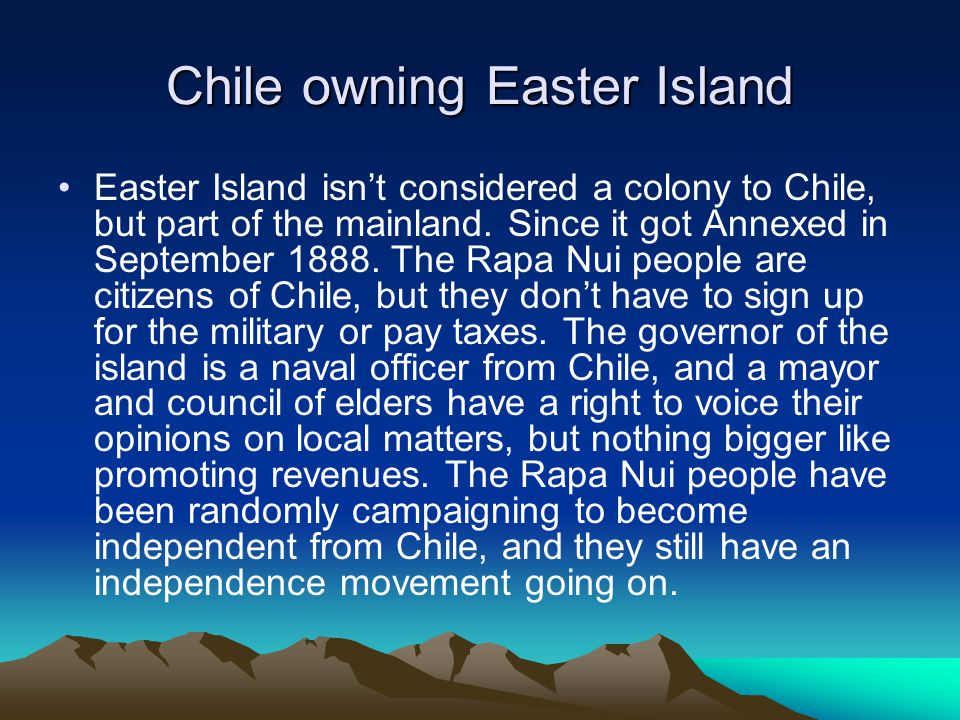 Chile owning Easter Island
