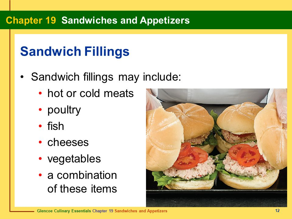 Sandwich Fillings Sandwich fillings may include: hot or cold meats