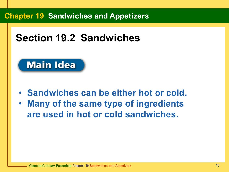 Section 19.2 Sandwiches Sandwiches can be either hot or cold.