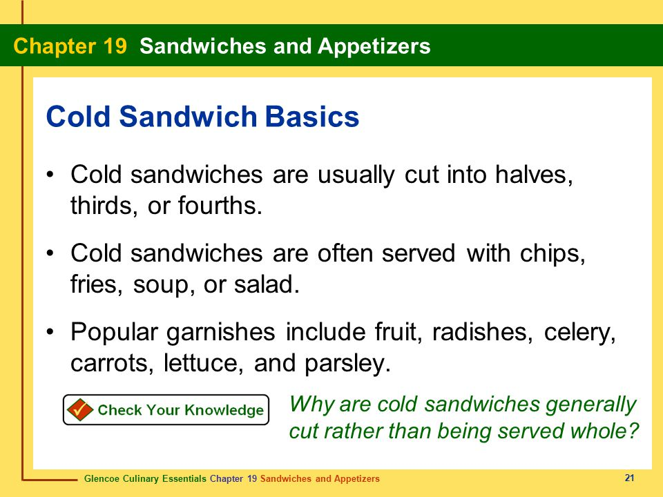 Cold Sandwich Basics Cold sandwiches are usually cut into halves, thirds, or fourths.