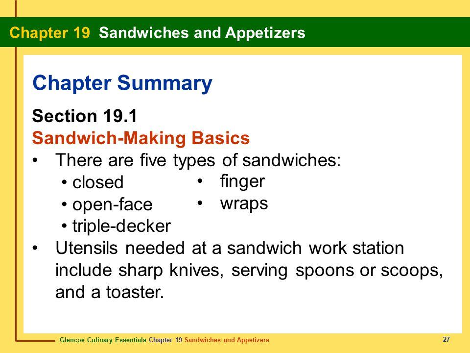 Chapter Summary Section 19.1 Sandwich-Making Basics