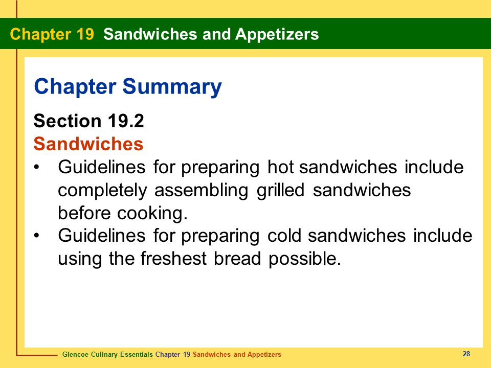 Chapter Summary Section 19.2 Sandwiches