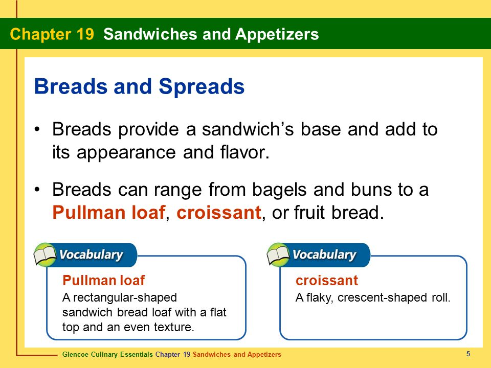 Breads and Spreads Breads provide a sandwich's base and add to its appearance and flavor.