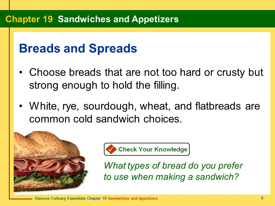 Breads and Spreads Choose breads that are not too hard or crusty but strong enough to hold the filling.