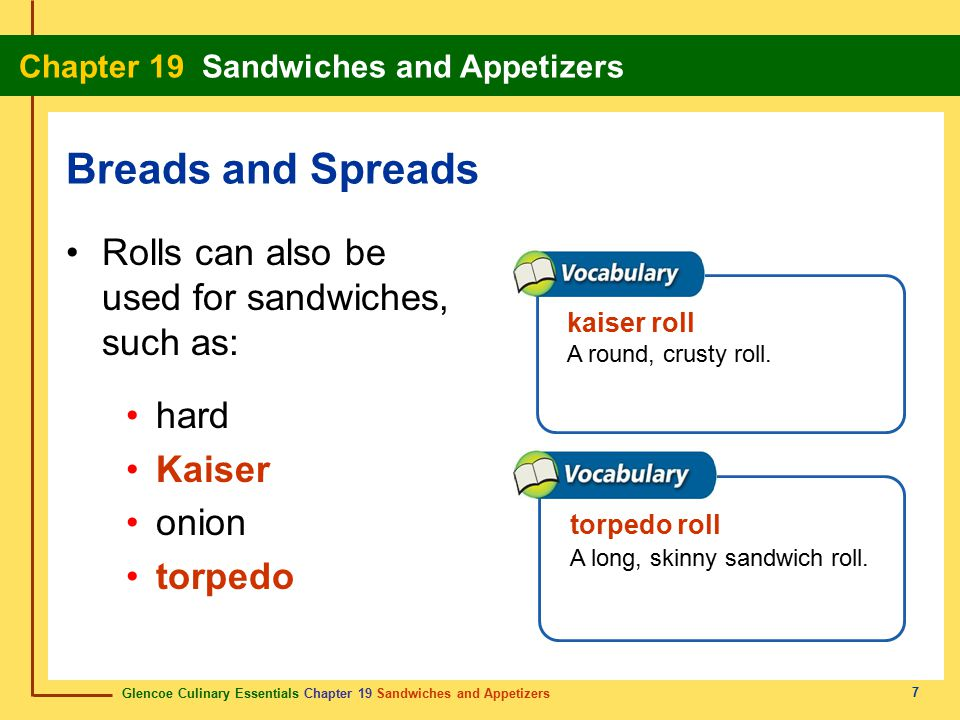 Breads and Spreads Rolls can also be used for sandwiches, such as: