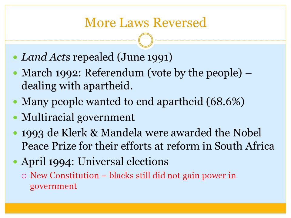 More Laws Reversed Land Acts repealed (June 1991)