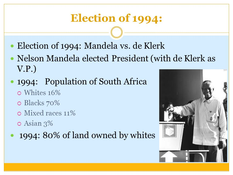 Election of 1994: Election of 1994: Mandela vs. de Klerk